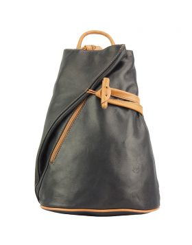 Fiorella leather backpack - Black/Tan
