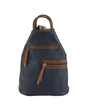 Sorbonne leather Backpack - Blue/Brown