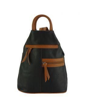 Sorbonne leather Backpack - Black/Tan
