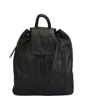 Ginevra leather Backpack - Black/Black