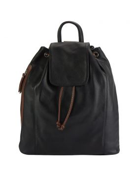 Ginevra leather Backpack - Black/Brown