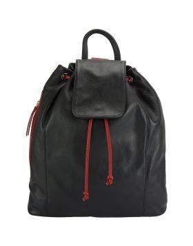 Ginevra leather Backpack - Black/Red