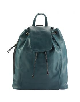Ginevra leather Backpack - Dark Turquoise/Black