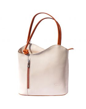 Cloe leather shoulder bag - Beige/Tan
