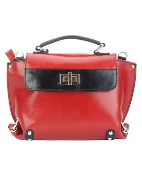 Kensington leather Handbag - Red/Black