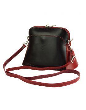 Gemma leather crossbody bag - Black/Red
