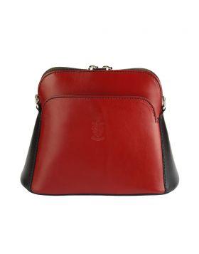 Gemma leather crossbody bag - Red/Black