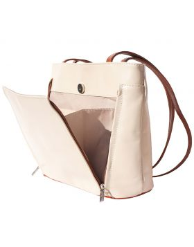Ludovica leather shoulder bag - Beige/Brown