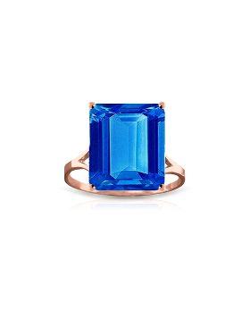 7 Carat 14K Rose Gold Ring Natural Octagon Blue Topaz