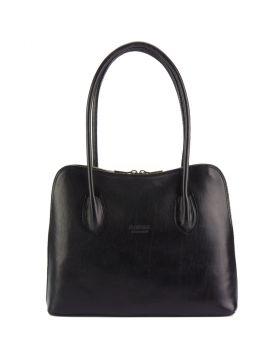 Claudia V leather shoulder bag (GM - large) - Black