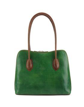 Claudia V leather shoulder bag (GM - large) - Green/Brown