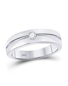 14kt White Gold Unisex Round Bezel-set Diamond Wedding Band Ring 1/6 Cttw
