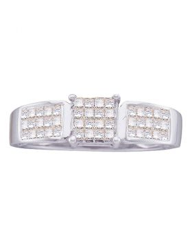 14kt White Gold Womens Princess Diamond Cluster Bridal Wedding Engagement Ring 1/2 Cttw