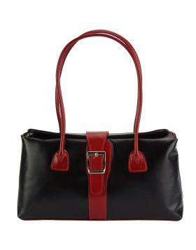 Erminia leather handbag - Black/Red