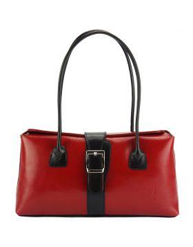 Erminia leather handbag - Red/Black