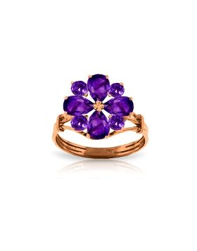 14K Rose Gold Ring w/ Natural Purple Amethysts