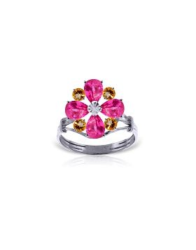 2.43 Carat 14K White Gold Ring Natural Pink Topaz Citrine
