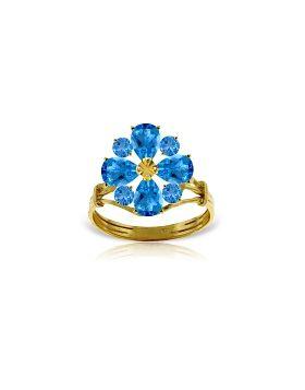 2.43 Carat 14K Gold Love Theme Blue Topaz Ring