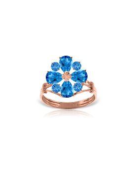 14K Rose Gold Ring Natural Blue Topaz