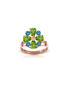 14K Rose Gold Ring w/ Natural Peridot & Blue Topaz