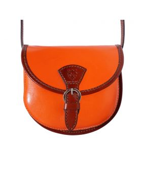 Adina leather crossbody bag - Orange/Brown