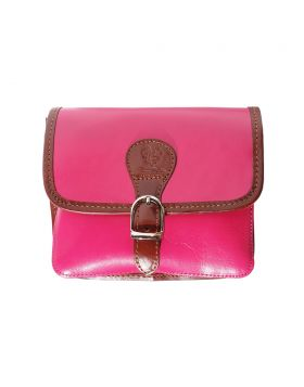 Lady leather shoulder bag - Fuschia/Brown