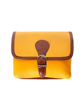 Lady leather shoulder bag  - Yellow/Brown