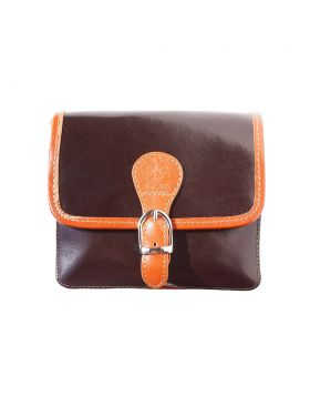 Lady leather shoulder bag - Dark Brown/Tan