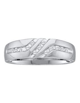 10kt White Gold Unisex Round Channel-set Diamond Triple Row Wedding Band Ring 1/8 Cttw