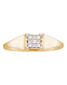 14kt Yellow Gold Womens Princess Diamond Square Cluster Ring 1/8 Cttw