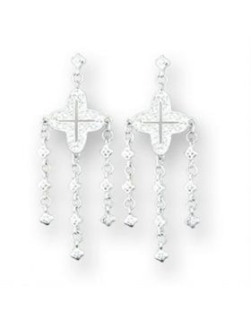 Earrings,925 Sterling Silver,High-Polished,AAA Grade CZ,Clear,Round