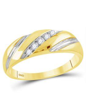 14kt Two-tone Gold Unisex Round Diamond Wedding Band Ring 1/10 Cttw