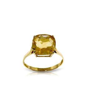 3.6 Carat 14K Gold Ring Natural Checkerboard Cut Citrine