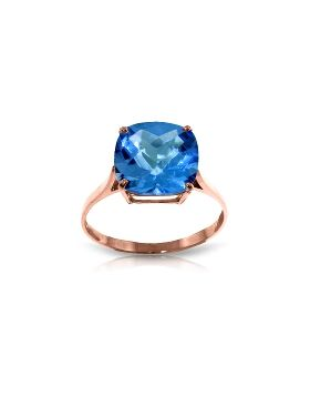 3.6 Carat 14K Rose Gold Ring Natural Checkerboard Cut Blue Topaz