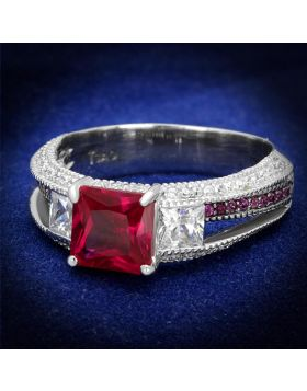 TS545-5 - 925 Sterling Silver Rhodium + Ruthenium Ring AAA Grade CZ Ruby