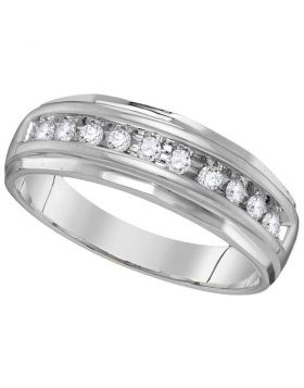 14kt White Gold Unisex Round Diamond Single Row Grooved Wedding Band Ring 1/4 Cttw