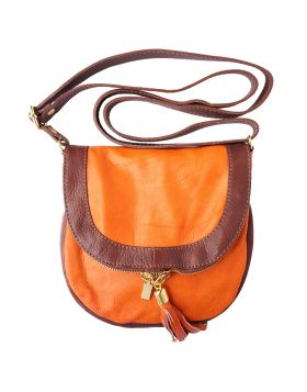 Tarsilla leather shoulder bag - Orange/Brown