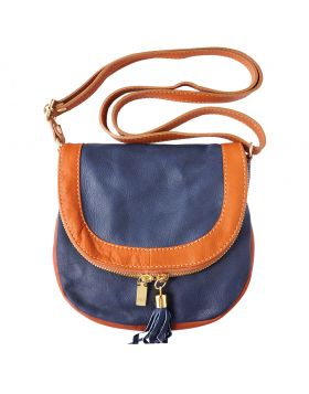 Tarsilla leather shoulder bag - Dark Blue/Tan