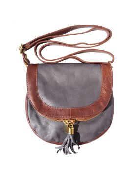 Tarsilla leather shoulder bag - Grey/Brown