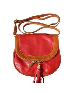Tarsilla leather shoulder bag - Red/Tan