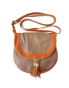 Tarsilla leather shoulder bag - Dark Taupe/Brown