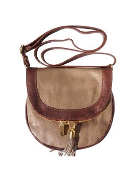 Tarsilla leather shoulder bag - Dark Taupe/Tan