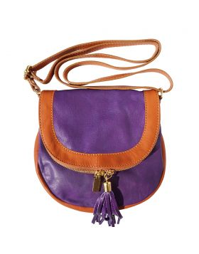 Tarsilla leather shoulder bag - Purple/Tan