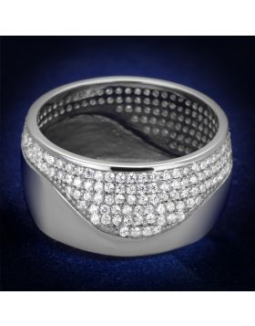 TS378-5 - 925 Sterling Silver Rhodium Ring AAA Grade CZ Clear