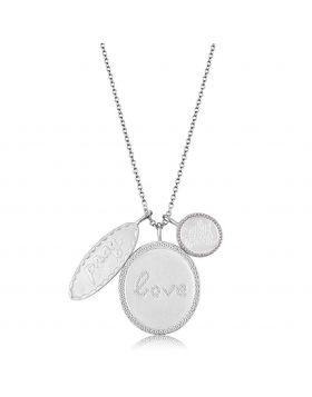 LO4693-18 - Brass Rhodium+Brushed Necklace Top Grade Crystal Light Amethyst