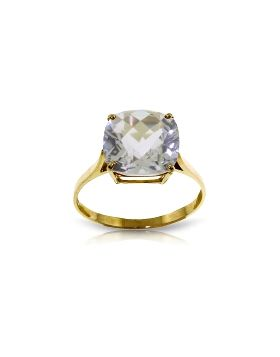 3.6 Carat 14K Gold Ring Natural Checkerboard Cut White Topaz