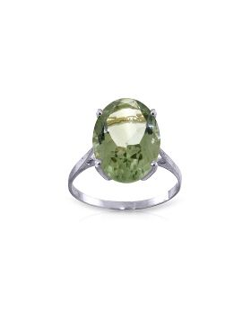 7.55 Carat 14K White Gold Ring Natural Green Amethyst