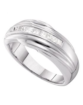 14kt White Gold Unisex Princess Channel-set Diamond Single Row Wedding Band 1/2 Cttw