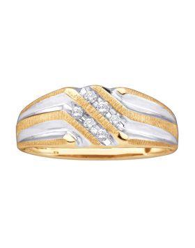 10kt Yellow Gold Unisex Round Diamond Double Row Two-tone Ridged Wedding Band Ring 1/8 Cttw