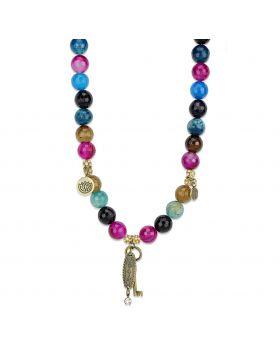 LO3816-16 - White Metal Antique Copper Necklace Synthetic Multi Color